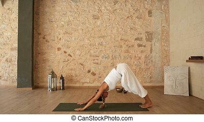 nő, cselekedet, jóga