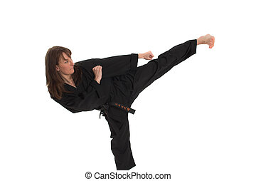 nő, cselekedet, karate