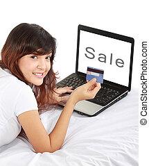 nő, cselekedet, online bevásárlás