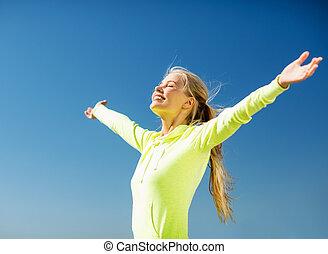nő, cselekedet, sport, szabadban