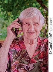 nő, csinos, beszéd, mozgatható, öregedő, telefon