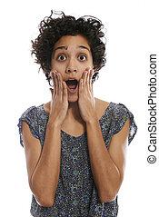 nő, döbbent, spanyol, száj, portré, nyílik