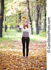 nő, dobás, zöld, fiatal, tizenéves, csörgőréce, erdő
