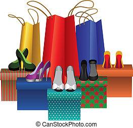 nő, dobozok, bevásárol táska, cipők