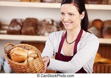 nő, dolgozó, alatt, egy, pékség