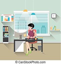 nő, dolgozó, kereskedelmi ügynökség, neki, íróasztal