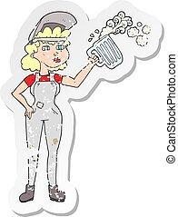 nő, dolgozó, retro, sör, szomorú, nehéz, karikatúra, böllér