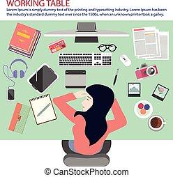 nő, dolgozó, table.eps, bevétel, szundikálás, elfoglalt