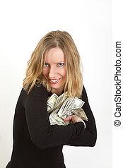 nő, dollárok, fiatal, kapzsi, arc, bír, elverés