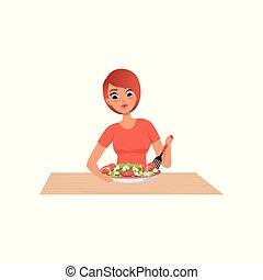 nő, egészséges, főzés, fiatal, ábra, saláta, vektor, előkészítő, háttér, fehér, étkezés, konyha