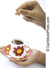 nő, előkészítő, tea