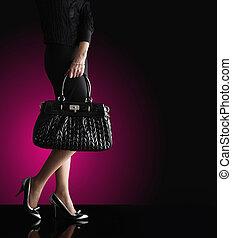 nő, elegáns, fénykép, mód, fekete, táska