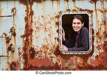 nő, elhagyatott, fiatal, object., ablak, portré
