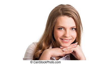 nő, ellen, háttér, fiatal, portré, jókedvű, fehér