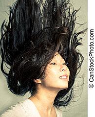 nő, elszelelő, neki, haj