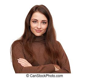 nő, elszigetelt, látszó, háttér., closeup, portré, mosolygós...