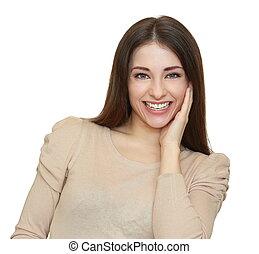 nő, elszigetelt, young külső, háttér, mosolygós, fehér, boldog