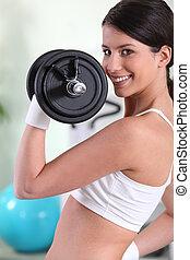 nő, emelés, súly, tornaterem