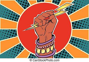 nő, erő, villámlás, afrikai, leány, fist.