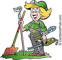 nő, eszközök, kert, kertész