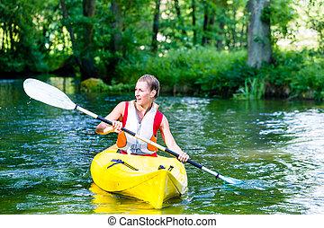 nő, evező, noha, kenu, képben látható, erdő, folyó