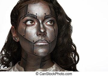nő, fém, arc