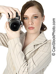 nő, fényképezőgép