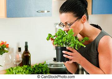 nő, főzés, alatt, konyha