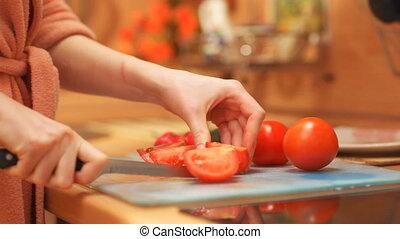 nő, főzés, fiatal, növényi