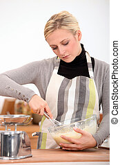 nő, főzés