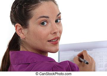 nő, fajta híres, képben látható, csipeszes írótábla