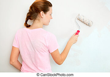 nő, fal, fiatal, brush., festmény, hajcsavaró