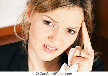 nő, fejfájás