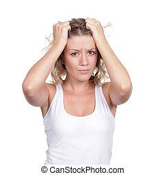nő, fejfájás, teszt, szőke, gyönyörű