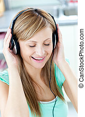 nő, fejhallgató, eleven, musik, kaukázusi, hallgat