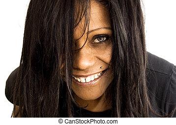 nő, fekete, meglehetősen