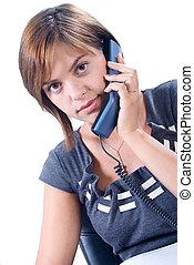 nő, felel, telefon