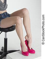 nő, feltétel, cipők