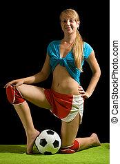 nő, feltevő, noha, focilabda