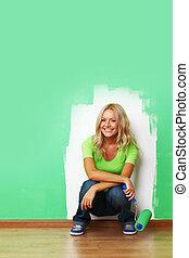nő, festék, képben látható, fal