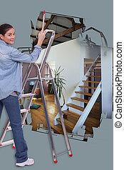 nő, festmény, épület