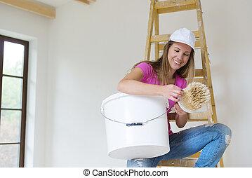 nő, festmény, a, walls.