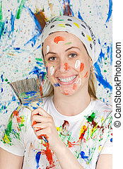 nő, festmény