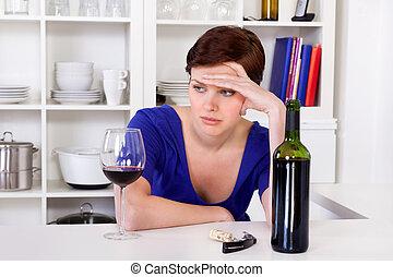 nő, fiatal, bús, pohár, thinkful, ivás, vörös bor