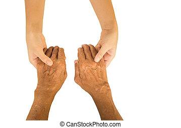 nő, fiatal, elszigetelt, kezezés kitart, kézbesít, idősebb ember