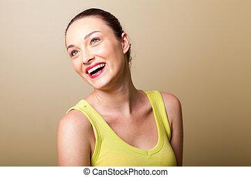 nő, fiatal, gyönyörű, nevető