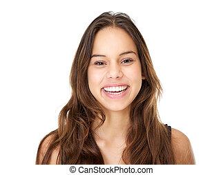 nő, fiatal, hosszú szőr, portré, mosolygós