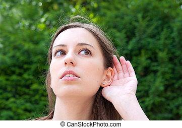 nő, fiatal, kihallgatás, relying, hand-ear