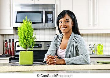 nő, fiatal, konyha