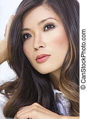 nő, fiatal, portré, kínai, ázsiai, gyönyörű